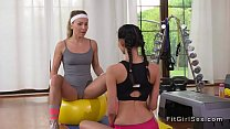Lesbians in hotpants tribbing at gym