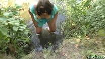 Kinky pee fun at the lake
