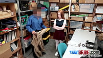 Redhead Ella refuses as officer makes her take his big cock video