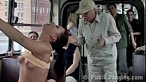 Amazing extreme sex in a public bus in front of the passengers with cum on face