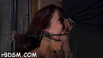 Chained up gals get their pussy drilled by tormentor