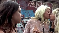 Busty lesbians suck and fuck in public