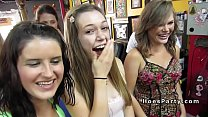 Group of nasty babes parting in tattoo shop