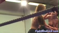 Busty lezzies wrestling in a boxing ring - leone sex videos thumbnail