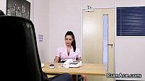 Flirty hottie gets sperm shot on her face swall... thumb