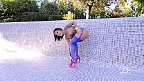 Ultra Sexy French babe fucks herself outdoors