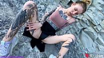Tattooed Girl Fingering Pussy By The Sea   Outdoor