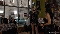 Green haired slave disgraced in public video