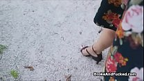 Pounding broke big tit Latina outdoors thumbnail