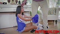 Petite teen cheerleader with big tits rides cock