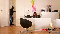 Burglar Grabs Lucy Li By Her Big Firm Tits & Fucks Her Pink At The Office Gp344