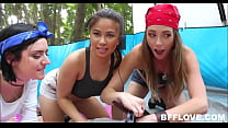 Teen Best Friends Fuck Lost Stranger While Camping In Woods