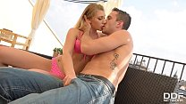 Smoking hot blondie Vyvan Hill goes for two cocks in blowjob threesome - www.topsex.me thumbnail