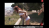 Hot chick led by leash and fucks in public