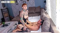 AMATEUR EURO - Tattooed German Lady Kinky Cat G...