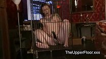 Lesbian slaves fucking with a cock gag and other slaved vibrates in cage Vorschaubild