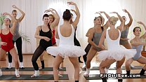 Muscled guy fucks two ballerinas in the gym thumbnail