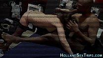Hooker rides black cock