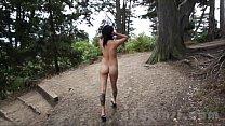 Nude in San Francisco:  Hot Asian Girl Explores Public Park Naked