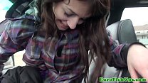 Petite euro amateurs facial in the car thumbnail