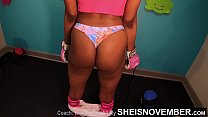 Working My Best Friends Slut Daughter Out In My Gym , Fit Ebony Brutal Ass Cheeks Boxing And Intense Jumping Rope Public Nudity With Huge Natural Ebony Boobs Bouncing Ebonyass Jiggling on Sheisnovember thumbnail