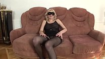 Free download video bokep Sexy blonde in black lingerie and mask wants to be banged
