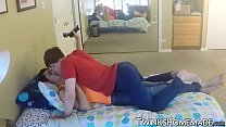 Homemade bareback session with two cute twinks jizzing
