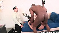 Cuckold hubby watches his wife being fucked by a huge black cock thumbnail