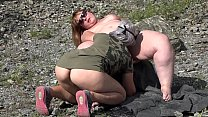 Licking a fatty pussy outdoors. Lesbians with b...