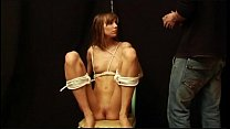 Teen amateur slavegirl Holly tied and clothespin pegged all over in kinky boyfri