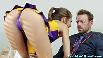 Cheerleader Riley Reid tastes coaches jizz's Thumb
