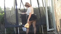 Pantyhose upskirt British big butt wife in mini skirt
