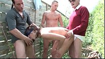 young french brunette anal fucked in foursome o...