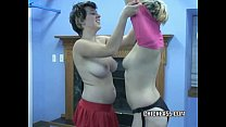 Busty coed Charlie takes a strap-on from teen slut Raven