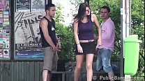 A guy is sharing a girlfriend with his friend at a bus stop pornhub video