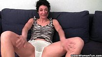 Granny hides a full bush in her soaked panties Image