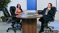 Image: Buttplugged coworker babe loves anal sex in the office