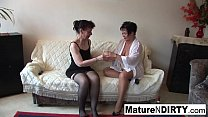 Sexy lesbian threesome action with hot grannies thumbnail