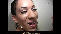 Adorable black chick make a guy happy through a gloryhole