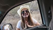 Sunny outdoor fuck with hitchhiking cowgirl