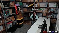 Bitchy teen shoplifter caught and fucked by a security guard preview image