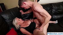 Sexy mature blonde lets young stud fuck her right