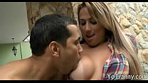 Tranny with big tits gets her ass rammed
