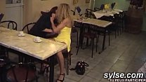 2 Flashing Moms In Restaurant