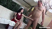 Hot Babe Sucks Old Cock In The Backyard   CFNM