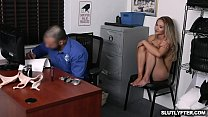 Blonde shoplyfter Scarlett Fall gets a hard banging from the pervy security officer