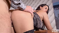 Voluptuous brunette babe Chloé's juicy big tits and pussy fucked hardcore