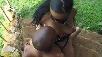big boob african mask milf takes a big cock