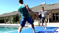 Athlectic jocks assfucking by the pool