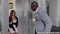 Interacial spex schoolgirl wet pussy drilled